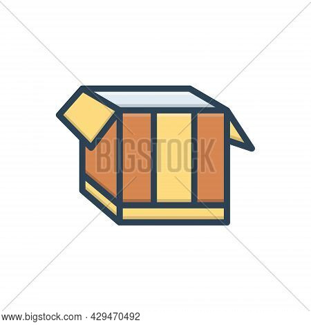 Color Illustration Icon For Box Pack  Packing Parcel Shipping Store Open