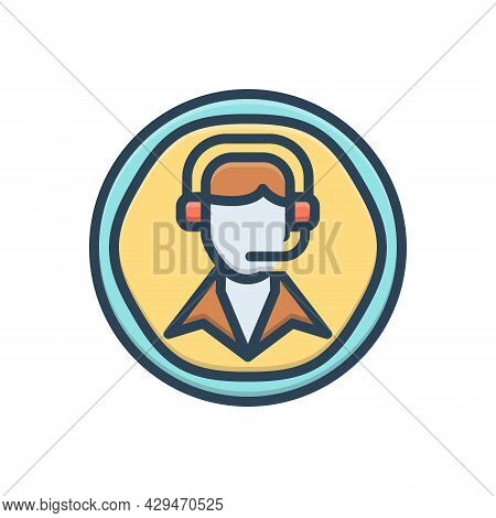 Color Illustration Icon For Call-center Call Center Customer-service Customer Service  Helpline Oper