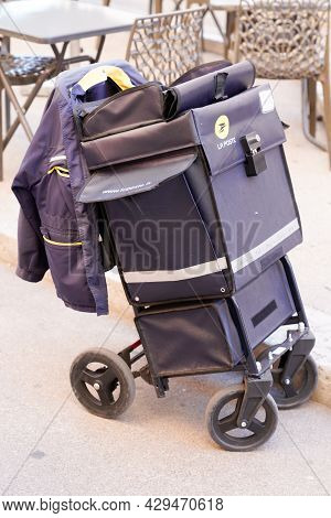 Perpignan , Occitanie France  - 06 25 2021 : La Poste Postman Cart In French City With Logo Sign And