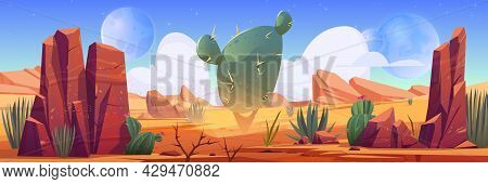Desert Landscape With Rocks And Cactuses. Vector Cartoon Illustration Of Hot Sand Desert With Mounta