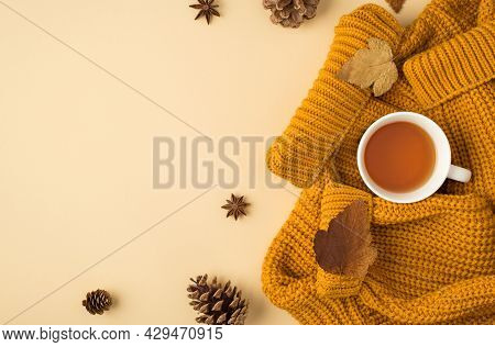 Top View Photo Of Cup Of Tea On Yellow Pullover Autumn Brown Leafage Anise And Pine Cones On Isolate