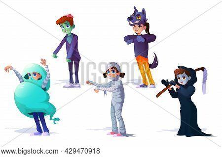 Children In Halloween Monsters Costumes Zombie, Mummy, Spooky Ghost, Grim Reaper And Werewolf Cartoo