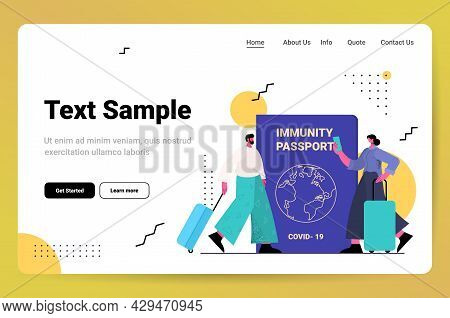 Travelers Couple Near Global Immunity Passport Risk Free Covid-19 Re-infection Pcr Certificate Coron