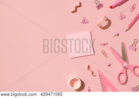 Top View Photo Of School Accessories Pink Stationery Adhesive Tapes Pushpins Binder Clips Scissors P