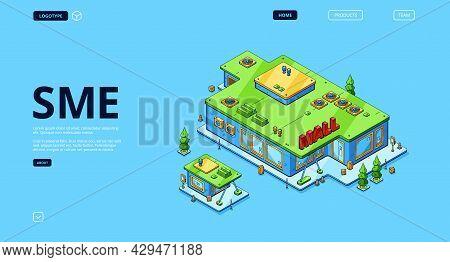 Sme Isometric Landing Page, Small Medium Enterprise Expand, Franchise Expansion. Business Company, M