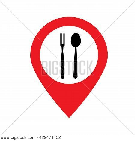 Cafe And Restaurants Location Icon On White Background. Food Pin Sign. Restaurant Location Logo Symb