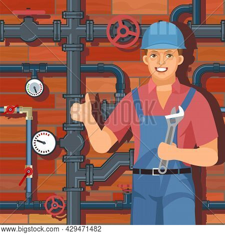 Service For Repair And Installation. Water Fittings. Pipeline For Various Purposes. Worker In Unifor