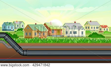 Pipeline For Various Purposes. Common Village Town Infrastructure. Underground Part Of System. Illus