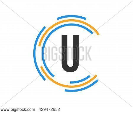 Technology Logo Design With U Letter Concept. U Letter Technology Logo
