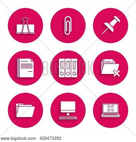 Set Office Folders With Papers And Documents, Computer Monitor Keyboard, Laptop Cross Mark Screen, D