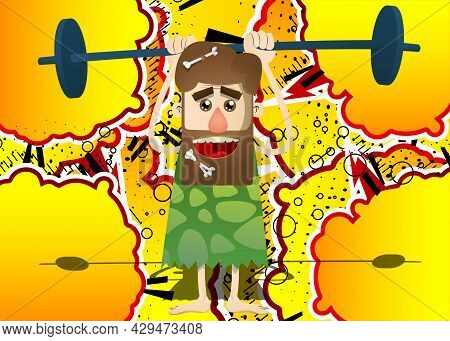 Cartoon Prehistoric Man As A Weightlifter Lifting Barbell. Vector Illustration Of A Man From The Sto