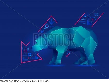 Concept Of Bearish In Stock Market Exchange, Graphic Of Low Poly Bear With Decreasing Graph