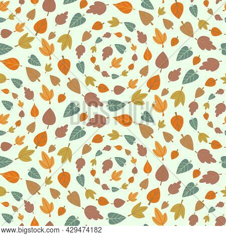 Seamless Pattern With Colorful Leaves Foliage Circles. Fall Woodland Forest Background Design. Autum