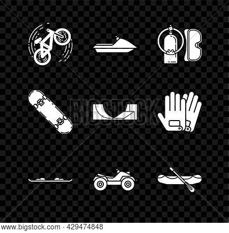 Set Bicycle Trick, Jet Ski, Diving Mask And Aqualung, Snowboard, All Terrain Vehicle Or Atv Motorcyc