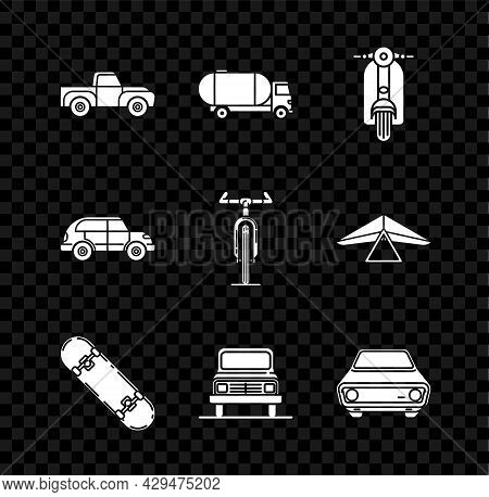 Set Pickup Truck, Tanker, Scooter, Skateboard, Car, Hatchback Car And Bicycle Icon. Vector