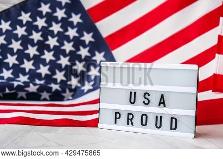American Flag. Lightbox With Text Usa Proud Flag Of The United States Of America. July 4th Independe