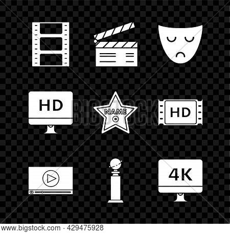 Set Play Video, Drama Theatrical Mask, Online Play Video, Trophy Golden Globe, Computer Pc Monitor W