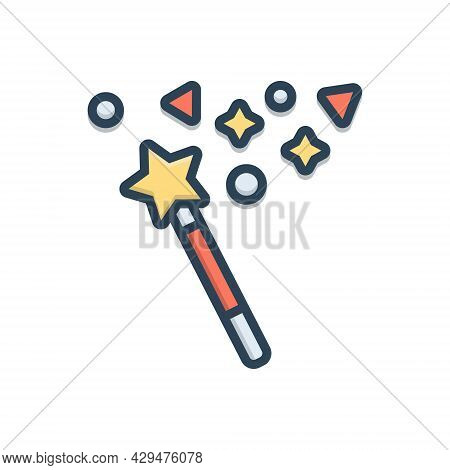 Color Illustration Icon For Magic Magician Wizards Magic-stick Miracle Wonder