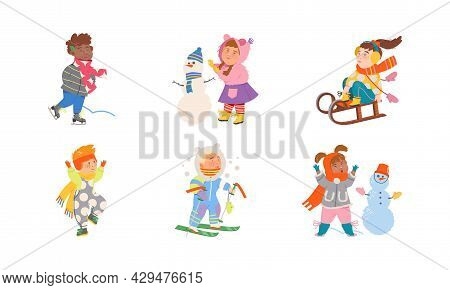 Excited Children Building Snowman, Sleighing And Ski Running Vector Set