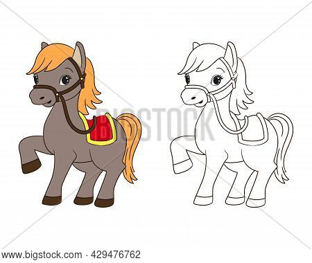 Coloring Book For Kids, Little Funny Horse With Red Saddle And Yellow Mane, Vector , Cartoon, Line A