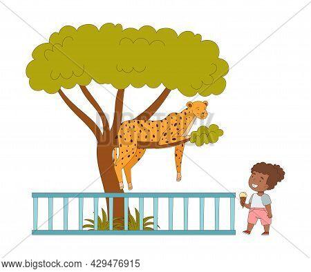 Happy Little Girl Looking At Cheetah Sitting On Tree Behind Enclosure At Zoo Vector Illustration
