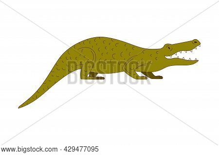 Green Crocodile With Long Tail And Sharp Teeth As African Animal Vector Illustration