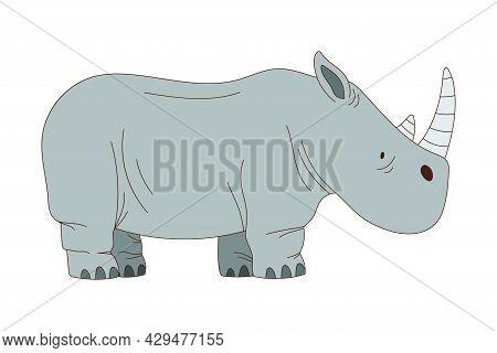 Grey Rhinoceros With Horn As African Animal Vector Illustration