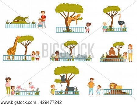 Happy Little Children With Parents Looking At Animals Behind Enclosure At Zoo Vector Set