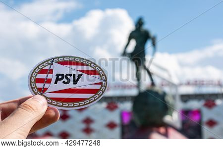 June 14, 2021 Eindhoven, Netherlands. The Emblem Of The Psv Eindhoven Football Club Against The Back