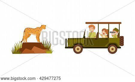 Man With Little Kids Driving Car Along Safari Area Watching Cheetah Animal Vector Illustration