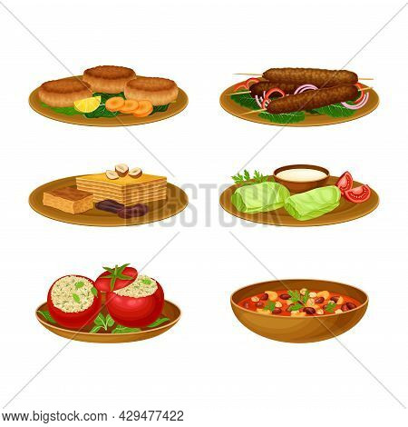 Egyptian Food And Dishes With Dolma And Stew Of Beans Vector Set