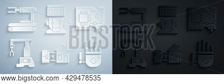 Set Smart Home, Printed Circuit Board Pcb, Assembly Line, Mechanical Robot Hand, Robot And Icon. Vec