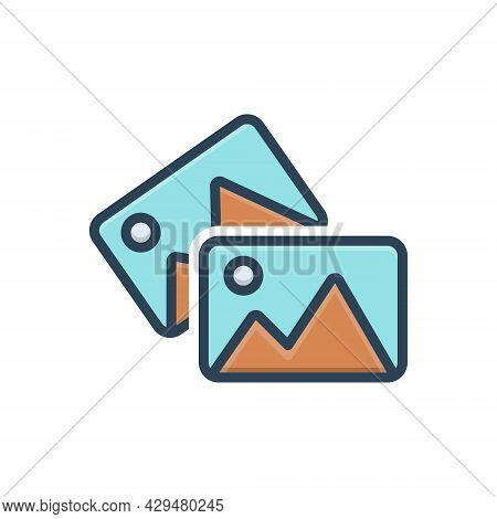 Color Illustration Icon For Images Photos  Album Picture Screen Placeholder Memory Gallery