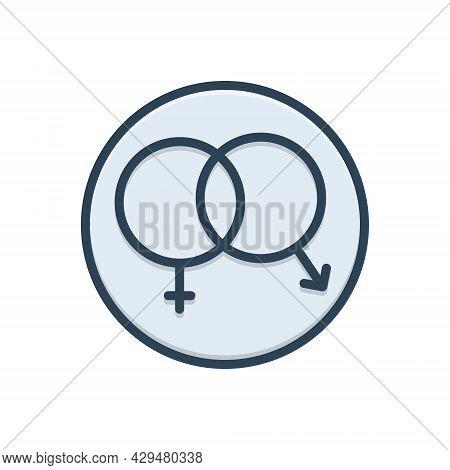 Color Illustration Icon For Sex Unisex Heterosexual Gender Coitus Cohabitation Coexistence  Shape Se