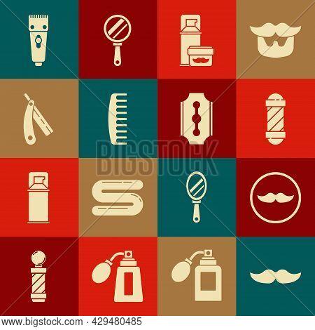 Set Mustache, Classic Barber Shop Pole, Shaving Gel Foam, Hairbrush, Straight Razor, Electrical Hair