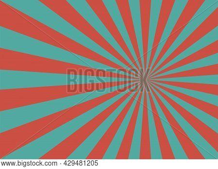 Sunlight Retro Narrow Horizontal Background. Pale Red, Blue Color Burst Background. Fantasy Vector I