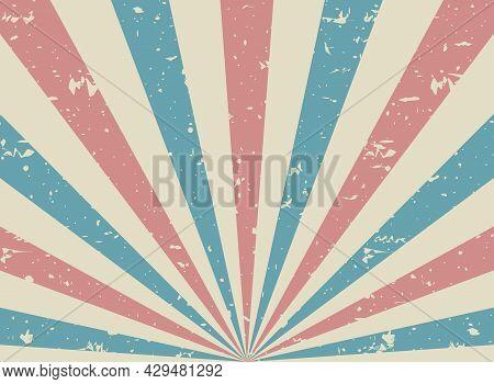 Sunlight Retro Faded Grunge Background. Pink And Blue Color Burst Background. Vector Illustration. S