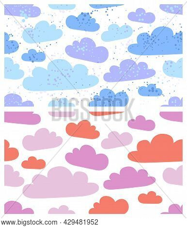 Clouds Seamless Vector Wallpaper Set, Endless Background Pattern With Cloudy Sky, Dreaming Fluffy Cl