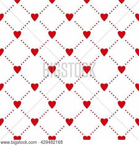 Seamless Pattern With Hearts. Casino Gambling, Poker Background. Alice In Wonderland Ornament. Fanta