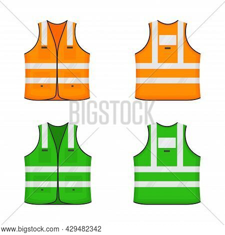 Safety Reflective Vest Icon Sign Flat Style Design Vector Illustration Set. Orange And Green Fluores
