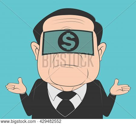 Cartoon Old Man With A Disinterested Expression Because He Received A Bribe. Confused Blindfolded Ma