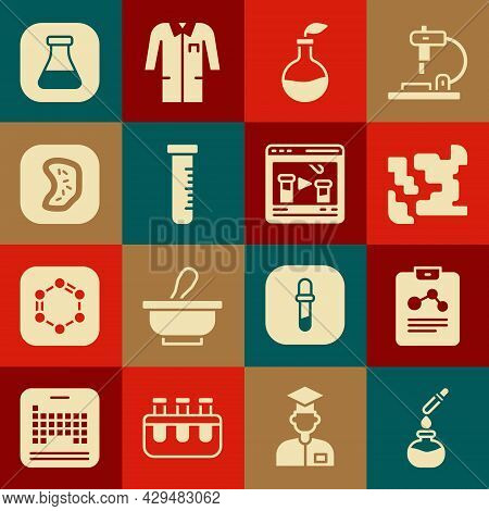 Set Test Tube And Flask, Chemistry Report, Gaseous, Plant Breeding, Bacteria, And Chemical Online Ic
