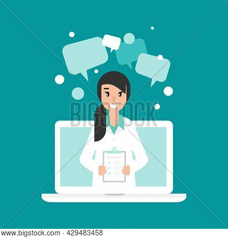 Smiling Woman Doctor With Check List On The Phone Screen. Medical Internet Consultation. Healthcare