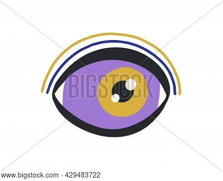 Magic Evil Eye Of God. Esoteric Occult Eyeball. Abstract Sacred Divine Mystical Pupil In Doodle Styl