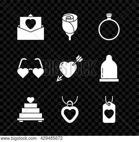 Set Envelope With Valentine Heart, Flower Rose, Diamond Engagement Ring, Wedding Cake, Necklace Shap