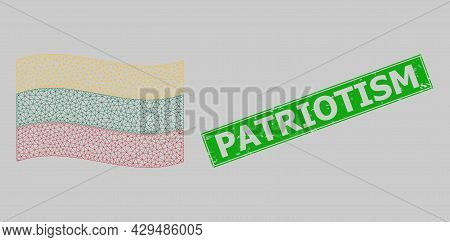 Mesh Polygonal Waving Lithuania Flag And Distress Patriotism Rectangle Seal. Carcass Model Is Design