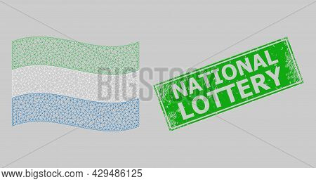 Mesh Polygonal Waving Sierra Leone Flag And Scratched National Lottery Rectangle Stamp Seal. Model I