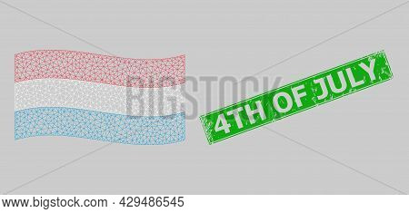 Mesh Polygonal Waving Luxembourg Flag And Scratched 4th Of July Rectangle Stamp Seal. Model Is Desig