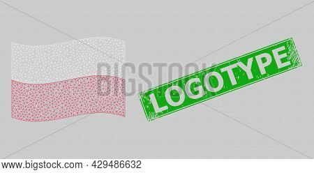 Mesh Polygonal Waving Poland Flag And Scratched Logotype Rectangle Stamp Seal. Carcass Model Is Desi