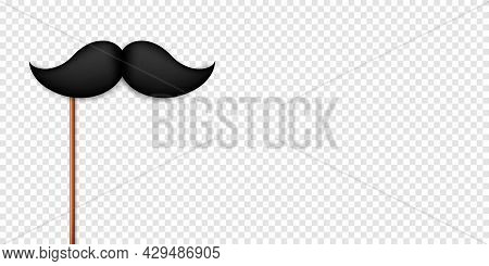 Realistic Black Mustache On A Wooden Stick. Fake Paper Mustache Isolated On Transparent Background.